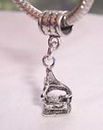 Glamorise Beads #13681 Phonograph Antique Record Player Dangle Bead for Silver European Charm (Phonograph Bead)
