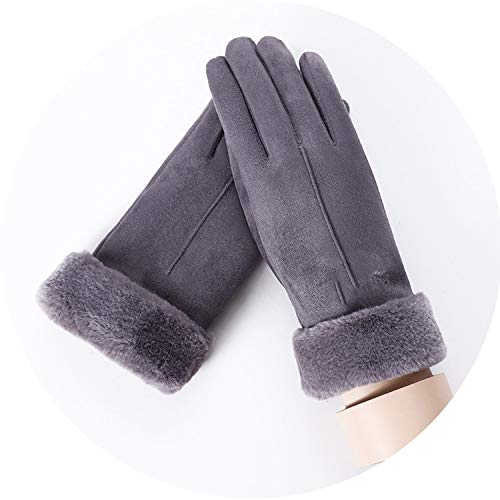 Late-love New Winter Female Lace Warm Cashmere Three Ribs Cute Bear Mittens Double Thick Plush Wrist Women Touch Screen Driving Gloves 81C,C Gray ()