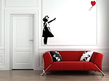 Red Balloon Girl   Wall Vinyl Decal