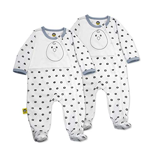 Nested Bean Zen Footie Pajama Classic - Gently Weighted, Long Sleeved, 100% Cotton (3-6 Months, O Me O My - White) - Onesie Classic Cotton