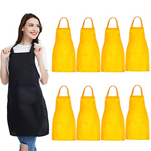 NOBONDO 8 Pack Bib Aprons - Unisex Yellow Apron Bulk with 2 Roomy Pockets Machine Washable for Kitchen Crafting BBQ Drawing