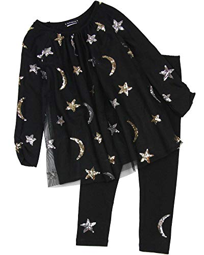 Kate Mack Girls' Moon and Stars Tunic and Leggings Set in Black, Sizes 4-12 - ()
