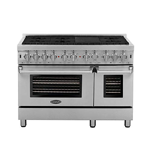 Cosmo DFR486G 48 in Free-standing Dual Fuel Range | 6 Sealed Burner Rangetop, Double Convection Oven with Light, Cast-Iron Grate Stovetop/Griddle, Metal Stove Heat Control, Stainless Steel