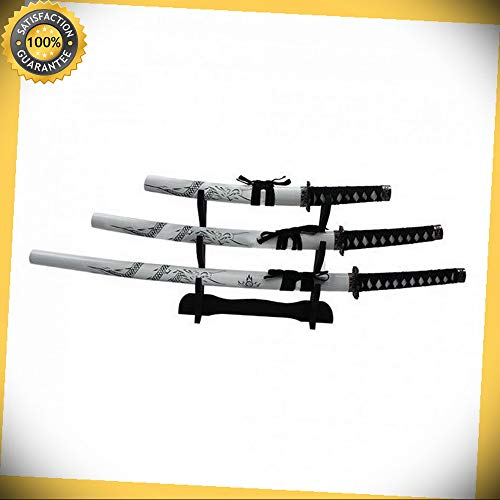 3 pcs Japanese Samurai Katana White Dragon Sword Set with Scabbard with Stand perfect for cosplay outdoor camping for $<!--$100.20-->