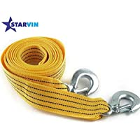 STARVIN 4M Long || Super Strong Emergency Heavy Duty || Car Tow Cable || 3 Ton Towing Strap Rope || with Dual Forged Hooks || Yellow Colour || A-03