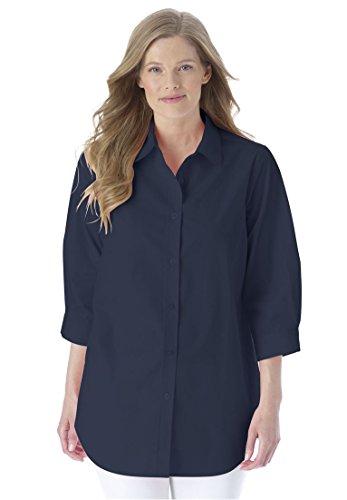 Women's Plus Size Three-Quarter Sleeve Perfect Shirt Navy,1X