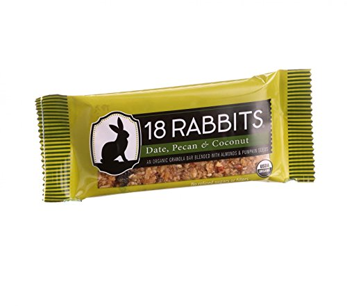18 Rabbits Organic Granola Bar - Date Pecan and Coconut - Case of 12-1.6 oz Bars - 95%+ Organic - Dairy Free - Wheat Free - by 18 Rabbits