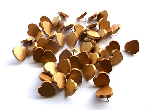 50 Gold Wooden Heart Thumb Tacks Push Pins 3/4 -