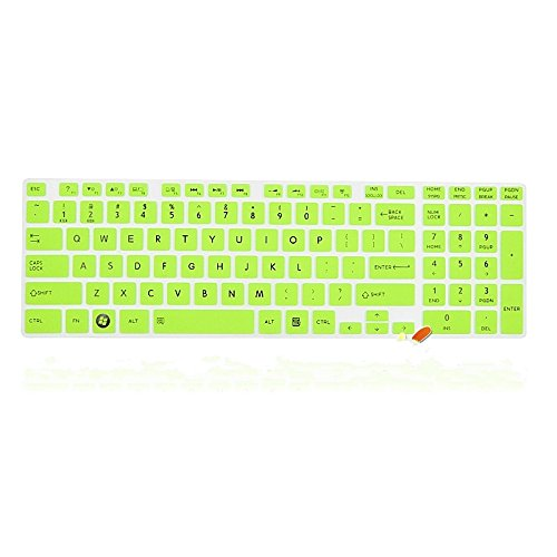 Leze - Ultra Thin Silicone Keyboard Protector Cover Skin for Toshiba Satellite L850/L850D/L855/L855D/L875/L875D/L955/L955D/L50-A/L50D-A/L50t-A/L50Dt-A/L55-A/L55T-A/L55DT-A/L70-A/U50t-A/E55-A/E55D-A/E55DT-A/E55t-A/S855/S855D/S875/S875D/S955/S955D/S50-A/S50t-A/S55T-A/S50D-A/S50Dt-A/S70-A/S70t-A/S75-A/S75D-A/S75t-A/P50-A/P50t-A/P55-A/P55T-A/P70-A/P75-A/P875/Qosmio X875/X70-A/X75-A Series US Layout - Semi Green