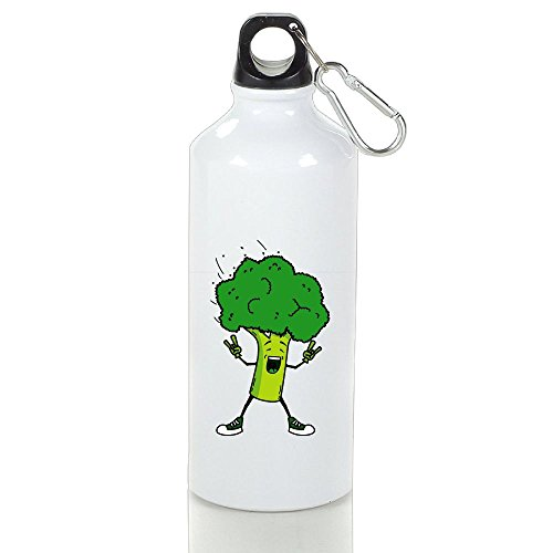 Drosp Broccoli Yeah White Aluminum Sports Water Bottle, Great For Outdoor And Sport Activities Sealed Plastic Leak-proof Screw Top 500ml White