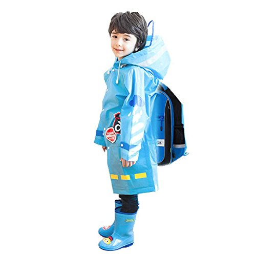TRIWONDER Raincoat Rain Cape Ponchos for Kids, Girls, Boys, Poncho Jacket Gear with Backpack Position (Blue, L (10-15 Years Old)) by TRIWONDER