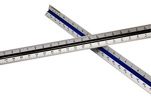 Architectural Scale Ruler for Blueprints and Engineering | Set of Two Aluminum Triangular Rulers - 1 Architect Imperial and 1 Engineer Scaled | Includes Protective Sleeves - 2 Pack by Noe & Malu (Image #3)