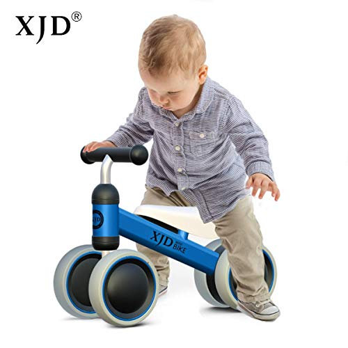 XJD Baby Balance Bikes Bicycle Children Walker Toddler Bike 10-24 Months Toys for 1 Year Old No Pedal Infant 4 Wheels First Birthday Gift Bike (Blue)