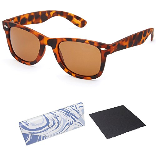 EVEE Unisex Horn-Rimmed Iconic RUBBERIZED TORTOISE UNISEX SQUARE POLARIZED SUNGLASSES + EVEE LIMITED EDITION CASE + MICROFIBER CLEANING CLOTH (E-ICPPMTBR) (Tortoise, - Wayfarer Sunglasses Collapsible
