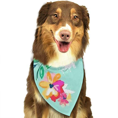 - ROCKSKY Dog Bandanas, Bright Floral Blooms Wedding Dog Bandana Cute Neck Tie Scarf, Triangle Bibs Scarf Neckerchief Great Gift for Pet Cats and Baby Puppies - Washable