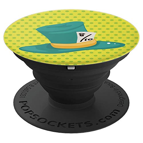(Mad Hatter Top Hat in Green on Yellow - PopSockets Grip and Stand for Phones and Tablets)