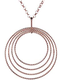 Rose Gold Plated 925 Sterling Silver Graduated Circle Pendant