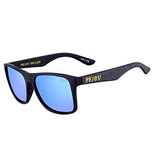 FEIDU Classic Brand Polarized Sunglasses Men Elastic Plastics Frame Sun glasses For Men Outdoor Eyewear FD0105 (gold, black) (Blue, - Sale Brand Sunglasses On