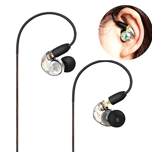 Musician Monitor Earphone with Earhook and Detachable Cables 5 Feet and Earhook for On and Off stage