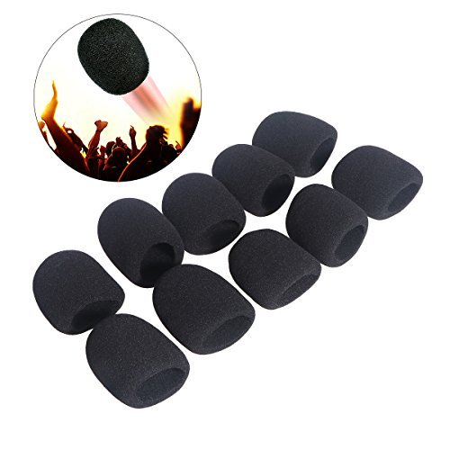 ROSENICE Replacement Headset Microphone Cushion Pads Windscreen Foam Cover 10pcs (Black) 16044243AU45075