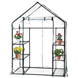 BestMassage Portable Mini Indoor/Outdoor Greenhouse, Plant Shelves Tomato Herb Canopy Winter Walk-in Green House for Patio