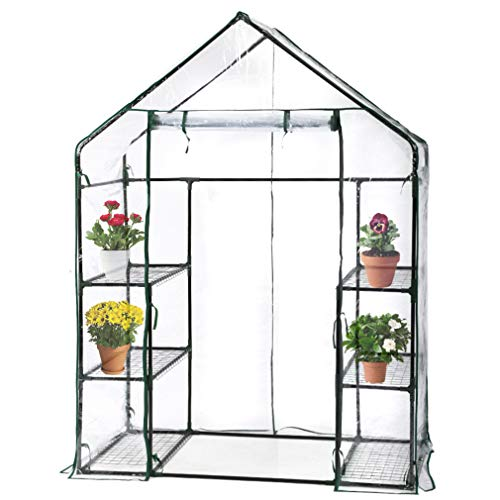FDW Portable Mini Indoor/Outdoor Greenhouse 4.9' L x 2.4'W x6.4'H Plant Shelves Tomato Herb Canopy Winter Walk-in Green House for Patio ()