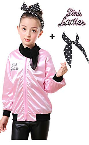 Girls 50s Grease Pink Ladies Jacket Satin Hen Party Costume Scarf (XS, Rhinestore) -