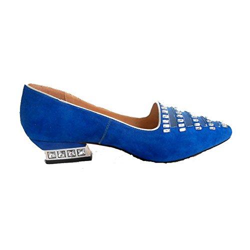 Nubukleder Eingelegt AllhqFashion Spitz Schuhe Zehe Damen Ziehen Blau Pumps Niedriger auf Absatz F5EEwfqU
