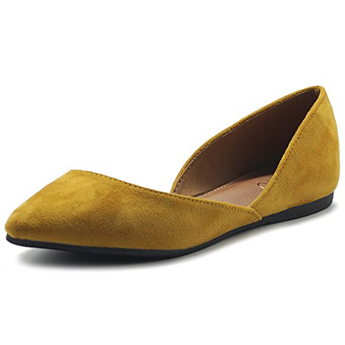 Ollio Women's Shoes Faux Suede Slip On Comfort Light Pointed Toe Ballet Flat ZM1710F (8 B(M) US, Mustard)