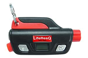 LifeResQ 6-In-1 Car Escape Tool, safety seat belt cutter, hammer window glass breaker, emergency SOS light, flashlight, handy digital tire gauge, loud save me whistle attracts attention, lightweight for key chain, great gift, lifetime guarantee