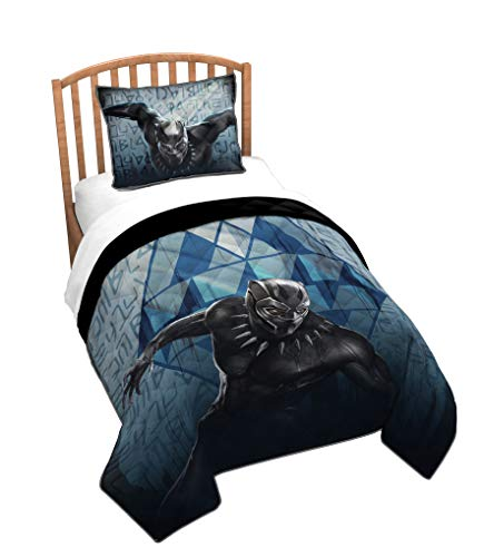 Jay Franco Marvel Black Panther Wakanda Twin Quilt & Sham Set – Super Soft Kids Bedding Features Black Panter – Fade Resistant Polyester (Official Marvel Product)
