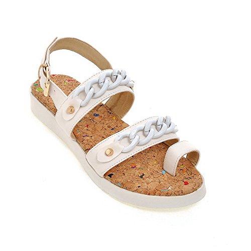 AllhqFashion Damen Weiches Material Offener Zehe Niedriger Absatz Sandalen Weiß