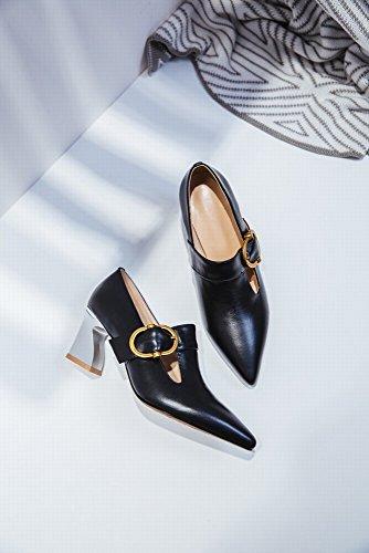 Boucle Talons Profonde en Pointue Chaussures de Noir Chaussures Cuir Et à en Métal avec HH D'Été Peu Fer Printemps Cheval Bouche Hauts gPUT7W6