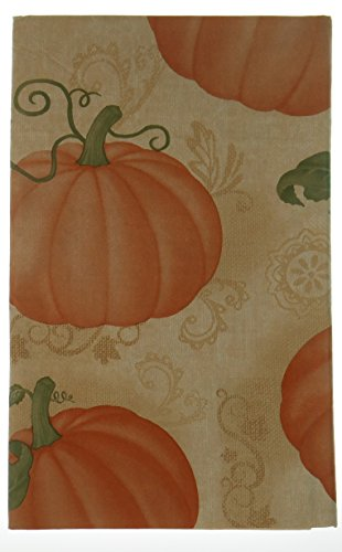 Pumpkin Patch Vinyl Tablecloth with Flannel Backing on Tan Background (52