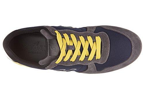 Hogan chaussures baskets sneakers homme en daim h205 olympia h flock blu