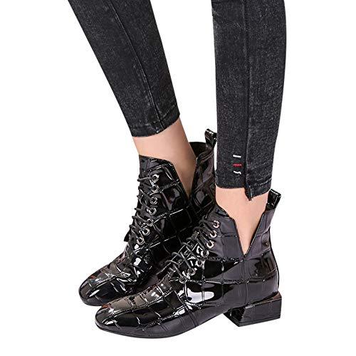 Black Croc Patent (Faionny Women Boots Wedge Ankle Boots Patent Leather Boots Flock Women Shoes Breathable Shoe Boots Warm Snow Boots)