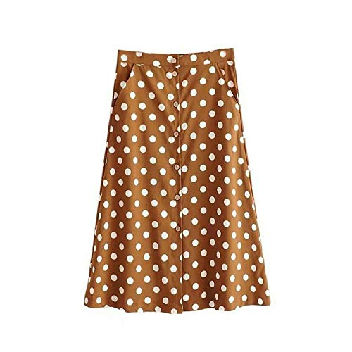 Vintage Polka dot Print Skirt for Women Korea Fashion Ladies midi Skirt Boho Pockets Button Skirts