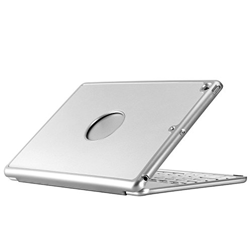 SODIAL For iPad Keyboard Case for New 2018 iPad, 2017 iPad, iPad Pro 9.7, iPad Air 1 and 2 - Bluetooth Detachable Quiet Keyboard - Slim Folio Cover(Silver) by SODIAL