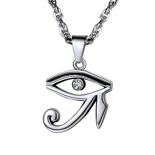 Horus Eye - PROSTEEL Eye of Horus Necklace Stainless Steel Egyptian Muslim Islam Allah Women Men Jewelry Eye of Ra African Jewelry Spiritual Amulet Protection Gift Vintage
