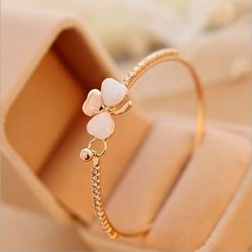 Fashion Charm Women Flower Crystal Gold Plated Cuff Bracelet Bangle Jewelry Gift