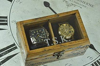 Caja de reloj de madera Lichtenberg, caja de reloj para hombres, caja de regalo