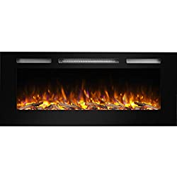 PuraFlame Alice Recessed Electric Fireplace, Wall Mounted for 2 X 6 Stud, Log set & Crystal, 1500W heater, Black from PuraFlame