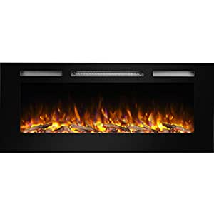 "PuraFlame Alice 48"" Recessed Electric Fireplace, Wall Mounted 2 X 6 Stud, Log Set & Crystal, 1500W Heater, Black"
