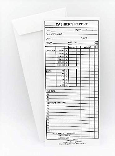 Cashier Depot Cashier's Report Envelope (MT235 - #11 White) by CASHIER DEPOT YOUR ONE STOP SHOP FOR ALL CASHIER'S NEEDS