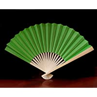 PaperLanternStore.com 9 Grass Green Paper Hand Fans for Weddings (10 Pack)