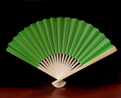 "Quasimoon 9"" Grass Green Paper Hand Fans for Weddings (10 Pack) by PaperLanternStore"