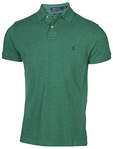 Polo Ralph Lauren Men Custom Fit Mesh Pony Logo Shirt (L, Greenhth) - Mesh Short Sleeve Polo Shirt