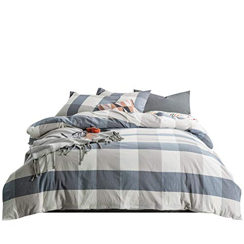 - SUSYBAO 3 Pieces Duvet Cover Set 100% Natural Washed Cotton Queen Size 1 Duvet Cover 2 Pillowcases Luxury Soft Breathable Comfortable Durable Blue and Brown Checkered Plaid Bedding with Zipper Ties