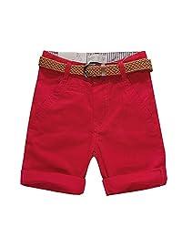Budermmy Boys Cotton Short Solid Cargo Toddler Adjustable Waistband Shorts with Belt