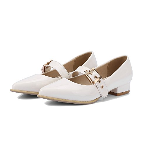 Show Shine Womens Slide Buckles Chunky Heel Mary Janes Loafers Shoes White S2pHiJ
